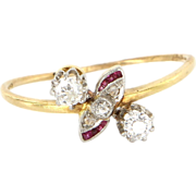 Art Deco 18 Karat Yellow Gold Diamond Ruby Ring Fine Vintage Jewelry