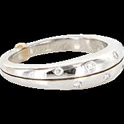 Estate 900 Platinum Sterling Silver 18 Karat Yellow Gold Diamond Stack Band Ring