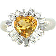REDUCED Vintage Heart Diamond Golden Topaz 14 Karat White Gold Cocktail Ring Estate Jewelry
