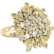 Vintage 18 Karat Yellow Gold Diamond Snowflake Cocktail Ring Estate Jewelry