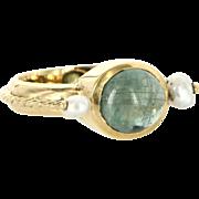 Vintage 18 Karat Yellow Gold Cabochon Cut Green Tourmaline Pearl Cocktail Ring