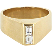 Emerald Cut Diamond Ring Vintage 60s 18 Karat Yellow Gold Cocktail Pre Owned