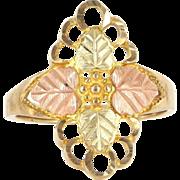 Estate 10 Karat Yellow Rose Black Hills Gold Leaf Cocktail Ring Fine Jewelry