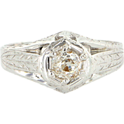 Art Deco 18 Karat White Gold Diamond Engagement Right Hand Ring Vintage Estate