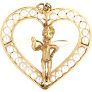 Vintage 14 Karat Yellow Gold Cultured Pearl Winged Angel In Heart Pendant Estate Jewelry