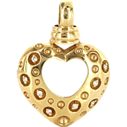 Vintage 14 Karat Yellow Gold Diamond Large Heart Pendant Fine Estate Jewelry