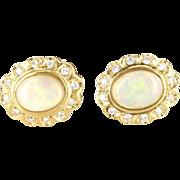 Vintage 14 Karat Yellow Gold Opal Diamond Princess Stud Earrings Estate Jewelry