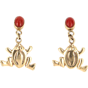 Vintage 14 Karat Yellow Gold Coral Frog Drop Cocktail Earrings Estate Jewelry