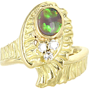 Black Opal Diamond Vintage Ring 18 Karat Yellow Gold Estate Fine Jewelry Sz 6