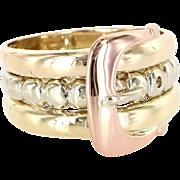 Vintage 14 Karat Multi-Tone Rose Yellow White Gold Buckle Love Pinky Ring Fine Estate ...