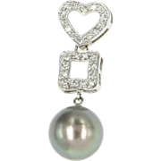 Vintage 14 Karat White Gold Diamond Cultured Black Tahitian South Sea Pearl Heart Pendant