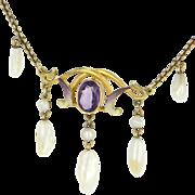 Art Nouveau 14 Karat Yellow Gold Amethyst Sawtooth Pearl Enamel Drop Necklace Vintage Estate .