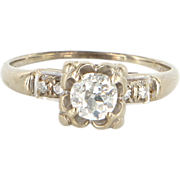 Art Deco 14 Karat White Gold Diamond Engagement Right Hand Ring Estate Bridal Jewelry
