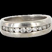 Vintage 10 Karat White Gold Diamond Mens Wedding Band RIng Sz 7.5 Estate Jewelry