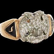 Vintage 10 Karat Yellow White Gold Masonic 32nd Degree Scottish Rite Eagle Ring Fraternal ...