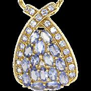 Vintage 14 Karat Yellow Gold Tanzanite Diamond Pendant Necklace Estate Jewelry