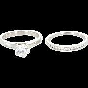 Vintage 14 Karat White Gold Zircon Diamond Wedding Ring Set Fine Estate Jewelry