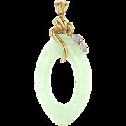 Vintage 10 Karat Yellow Gold Jade Diamond Oval Pendant Fine Estate Jewelry