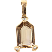 Vintage 14 Karat Yellow Gold Unusual Cut Citrine Diamond Cocktail Pendant Estate Jewelry