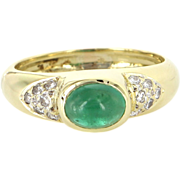 Vintage 18 Karat Yellow Gold Natural Emerald Diamond Stack Band Right Hand Ring Estate Jewelry