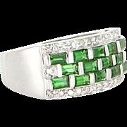 Vintage 14 Karat White Gold Diamond Tsavorite Garnet Band Right Hand Cocktail Ring Estate ...