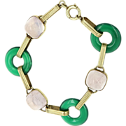 Art Deco 14 Karat Yellow Gold Chrysoprase Light Amethyst Round Link Bracelet Vintage Estate ..