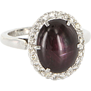 Vintage 925 Sterling Silver Six 6 Point Natural Star Ruby Princess Cocktail Ring Estate Jewelr