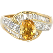 Vintage 14 Karat Yellow Gold Citrine Diamond Engagement Right Hand Ring Fine Estate Jewelry