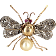 Vintage 14 Karat Yellow White Gold Ruby Diamond South Sea Cultured Pearl Insect Bee Bug ...