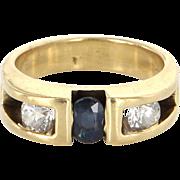 Vintage 14 Karat Yellow Gold Sapphire Diamond Pinky Stack Band Ring Estate Jewelry