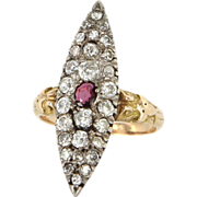 Antique Victorian 14 Karat Yellow Gold Ruby Diamond Navette Cocktail Ring Fine Estate Vintage