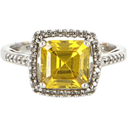 Vintage 10 Karat White Gold Diamond Citrine Square Cocktail Ring Estate Jewelry