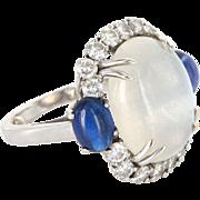 Vintage Rainbow Moonstone Sapphire 900 Platinum Cocktail Ring Estate Jewelry Sz 5