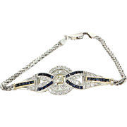 Diamond Sapphire Bracelet Vintage 14 Karat White Gold Estate Fine Jewelry Heirloom