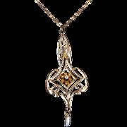 Antique Victorian Diamond Pearl Lavalier Pendant Necklace 10 Karat Gold Vintage Pre Owned