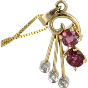 Small Ruby Diamond Pendant Necklace Vintage 14 Karat Yellow Gold Estate Pre Owned