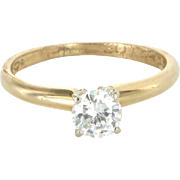 1/2 Carat Diamond Solitaire Vintage Engagement Ring 14 Karat Yellow Gold Estate Pre Owned