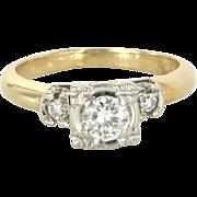 Diamond Engagement Ring Vintage 14 Karat Yellow Gold Estate Fine Bridal Jewelry