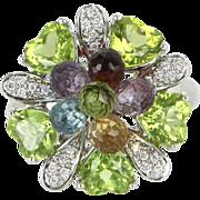Rainbow Peridot Amethyst Vintage Cluster Cocktail Ring 14 Karat White Gold Estate