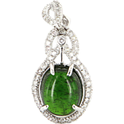 Vintage 14 Karat White Gold Green Tourmaline Diamond Pendant Estate Jewelry Fine