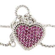 REDUCED Vintage Heart Diamond Ruby Drop Necklace 14 karat White Gold Pre Owned Jewelry