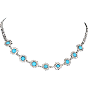 Vintage Turquoise Diamond 14 Karat White Gold Daisy Cocktail Necklace Estate Jewelry