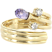 Vintage Amethyst Diamond 14 Karat Yellow Gold Band Ring Estate Pre Owned Jewelry 8.5
