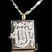 Vintage Pillbox Diamond Opening Pendant Necklace 20 Karat Gold Estate Fine Jewelry