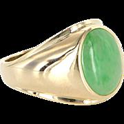 Vintage Mens Jadeite Jade Oval Signet Ring 14 Karat Yellow Gold Estate Pre Owned