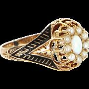 Antique Victorian Black Enamel Opal Seed Pearl 18 Karat Gold Ring Vintage Jewelry 5