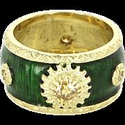 Yellow Diamond Green Enamel 18 Karat Gold Vintage Eternity Wide Band Ring Sz 5.5 ...