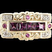 Vintage Mens Amethyst Diamond East West Dress Ring 14 Karat Yellow Gold Sz 7