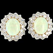 Vintage Opal 1.60ct Diamond Clip Cocktail Earrings 14 Karat Gold Estate Fine Jewelry