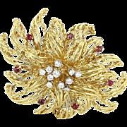 Vintage Large Diamond Ruby Spray Cocktail Brooch Pin 18 Karat Gold Estate Jewelry